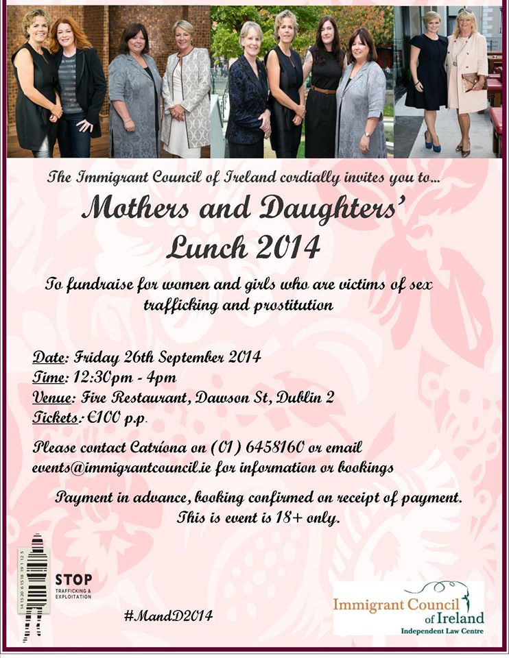 Immigrant Council of Ireland Mothers and Daughters Lunch Flyer