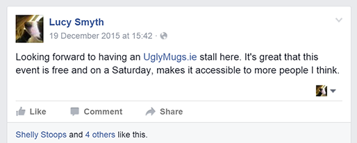 UglyMugs.ie post on FEMPOWER Facebook event page